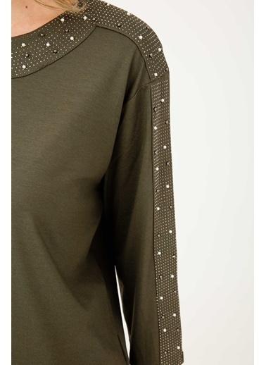 Butik Triko 3795 İnci Detaylı Sıfır Yaka Penye Bluz Haki